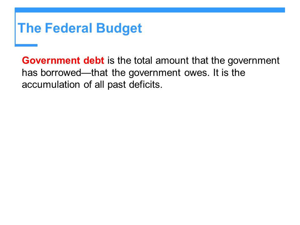 Government debt is the total amount that the government has borrowedthat the government owes. It is the accumulation of all past deficits.