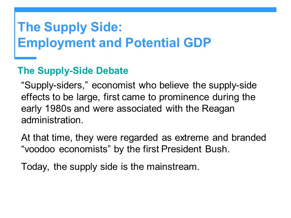 The Supply Side: Employment and Potential GDP The Supply-Side Debate Supply-siders, economist who believe the supply-side effects to be large, first c