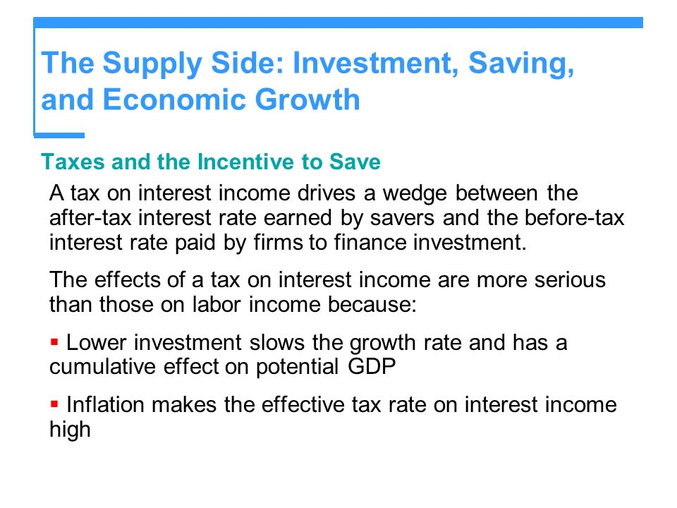 The Supply Side: Investment, Saving, and Economic Growth Taxes and the Incentive to Save A tax on interest income drives a wedge between the after-tax
