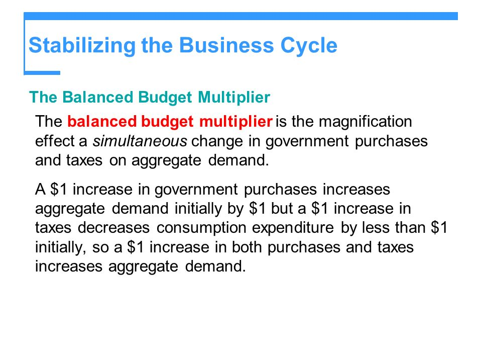 Stabilizing the Business Cycle The Balanced Budget Multiplier The balanced budget multiplier is the magnification effect a simultaneous change in gove