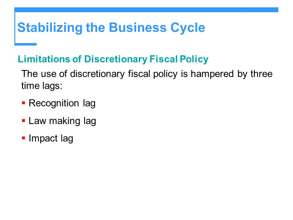 Stabilizing the Business Cycle Limitations of Discretionary Fiscal Policy The use of discretionary fiscal policy is hampered by three time lags: Recog
