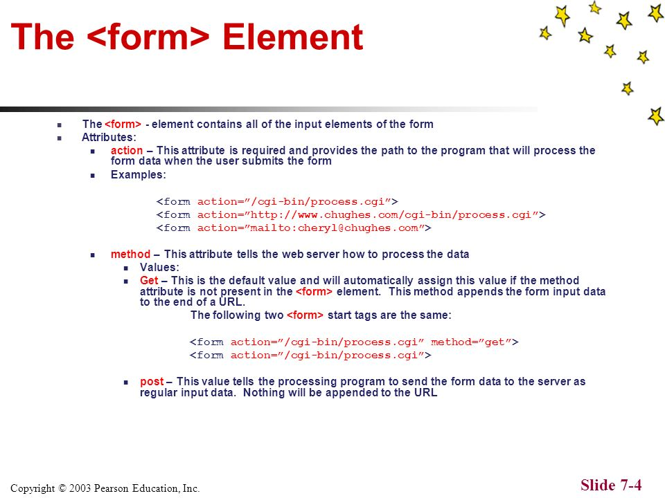 Copyright © 2003 Pearson Education, Inc. Slide 7-3 Overview of XHTML Forms Web forms give Website owners the ability to receive information from their