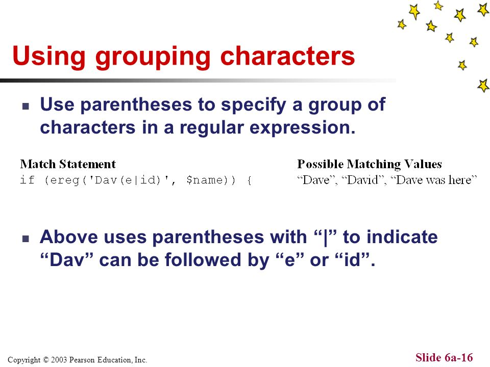 Copyright © 2003 Pearson Education, Inc. Slide 6a-15 The Output... The previous code can be executed at http://webwizard.aw.com/~phppgm/C6/drivSimple.