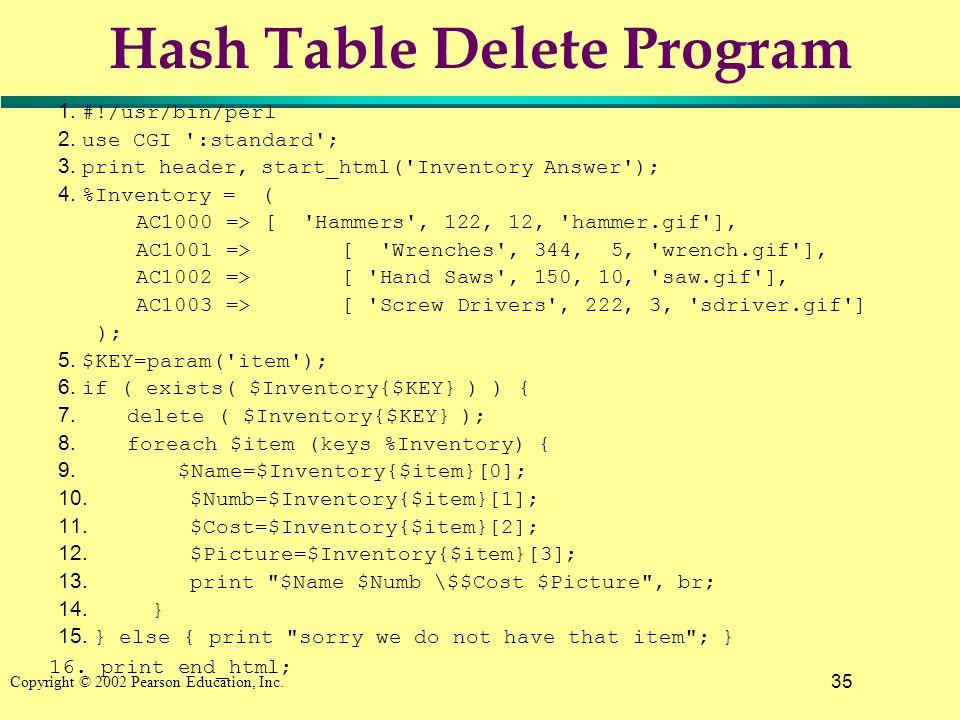 35 Copyright © 2002 Pearson Education, Inc. Hash Table Delete Program 1. #!/usr/bin/perl 2. use CGI ':standard'; 3. print header, start_html('Inventor