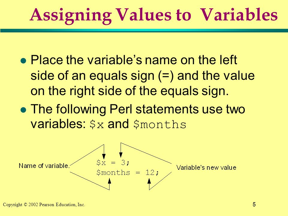 5 Copyright © 2002 Pearson Education, Inc. Assigning Values to Variables l Place the variables name on the left side of an equals sign (=) and the val