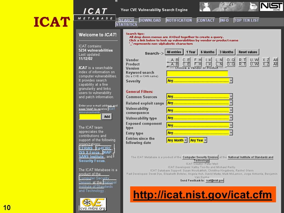 10 Copyright © 2002 M. E. Kabay. All rights reserved. ICAT / CVE http://icat.nist.gov/icat.cfm