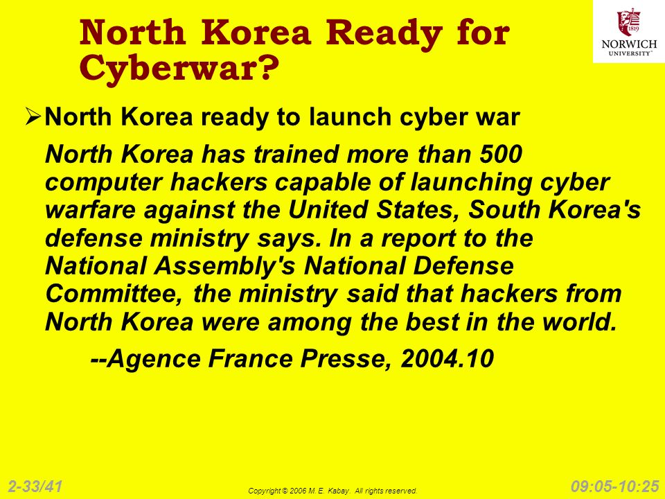 2-33/41 Copyright © 2006 M. E. Kabay. All rights reserved. 09:05-10:25 North Korea Ready for Cyberwar? North Korea ready to launch cyber war North Kor