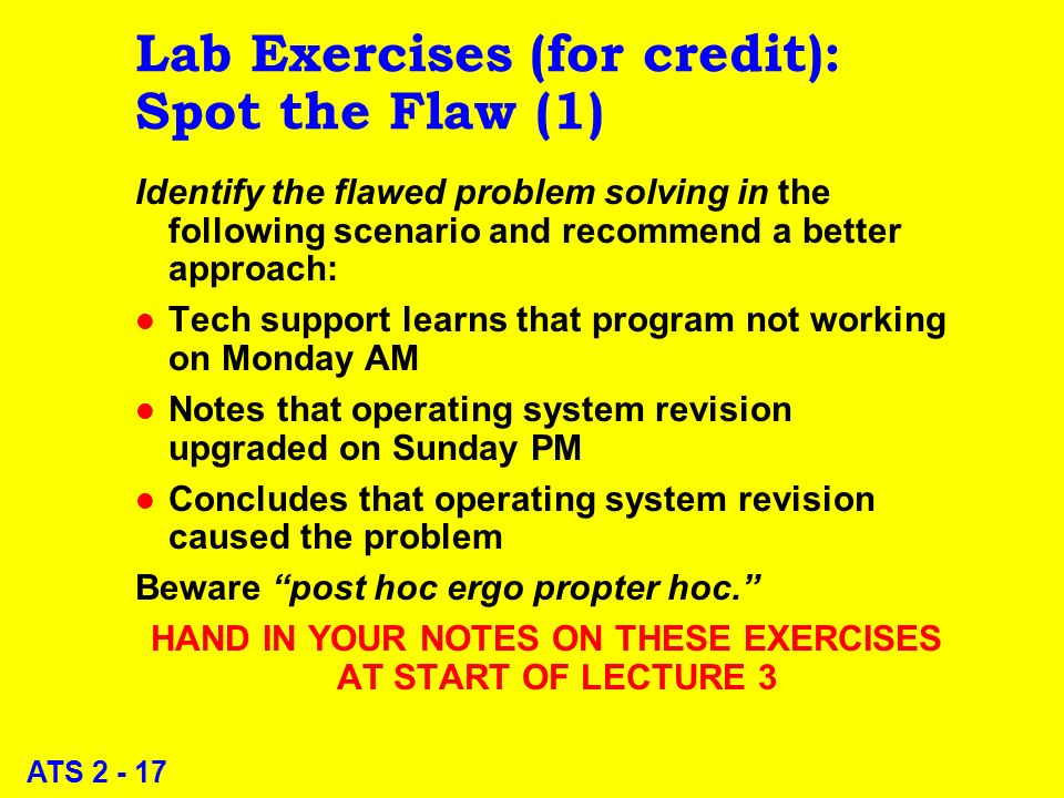 ATS 2 - 17 Lab Exercises (for credit): Spot the Flaw (1) Identify the flawed problem solving in the following scenario and recommend a better approach: l Tech support learns that program not working on Monday AM l Notes that operating system revision upgraded on Sunday PM l Concludes that operating system revision caused the problem Beware post hoc ergo propter hoc.