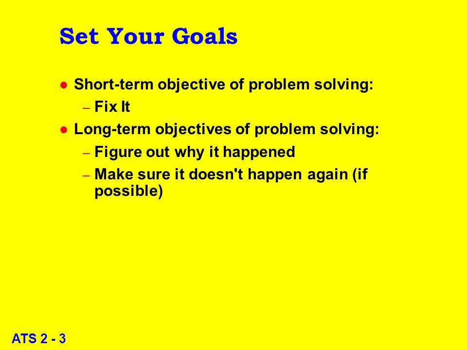 ATS 2 - 3 Set Your Goals l Short-term objective of problem solving: – Fix It l Long-term objectives of problem solving: – Figure out why it happened –