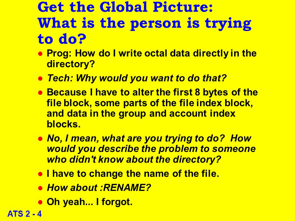 ATS 2 - 4 Get the Global Picture: What is the person is trying to do.