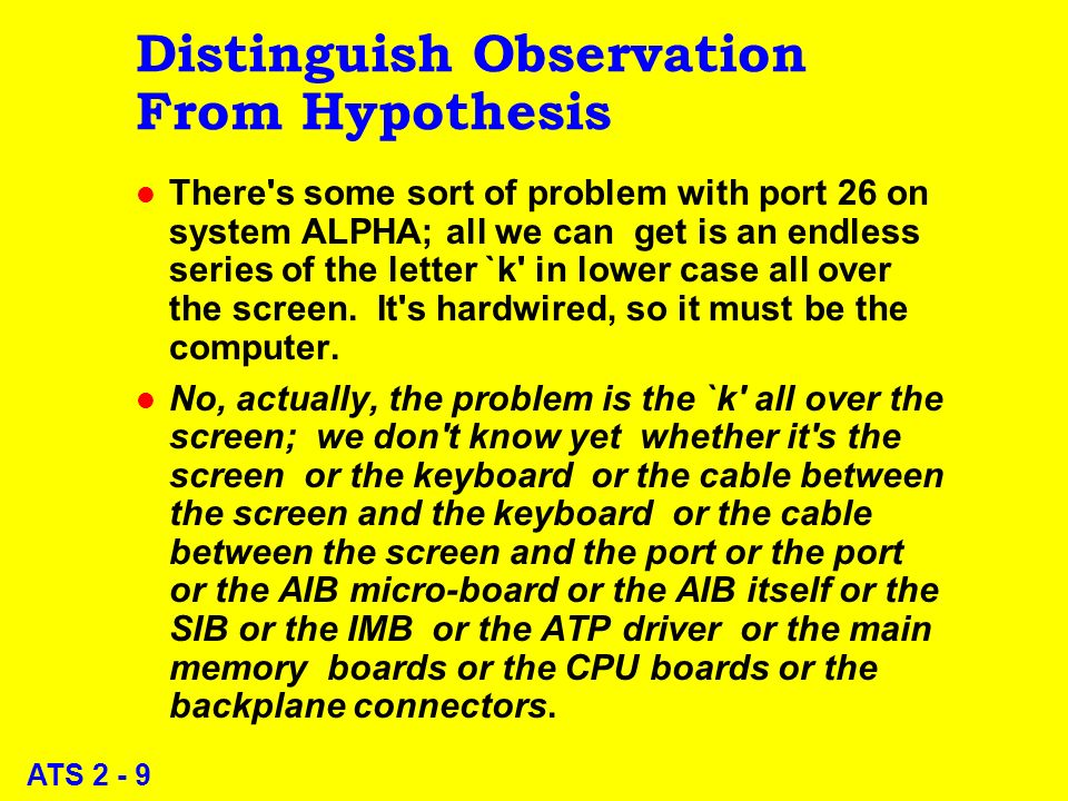 ATS 2 - 9 Distinguish Observation From Hypothesis l There s some sort of problem with port 26 on system ALPHA; all we can get is an endless series of the letter `k in lower case all over the screen.