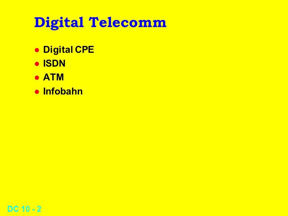 DC 10 - 3 Digital CPE l Digital PBX l Digitized Voice l T-1