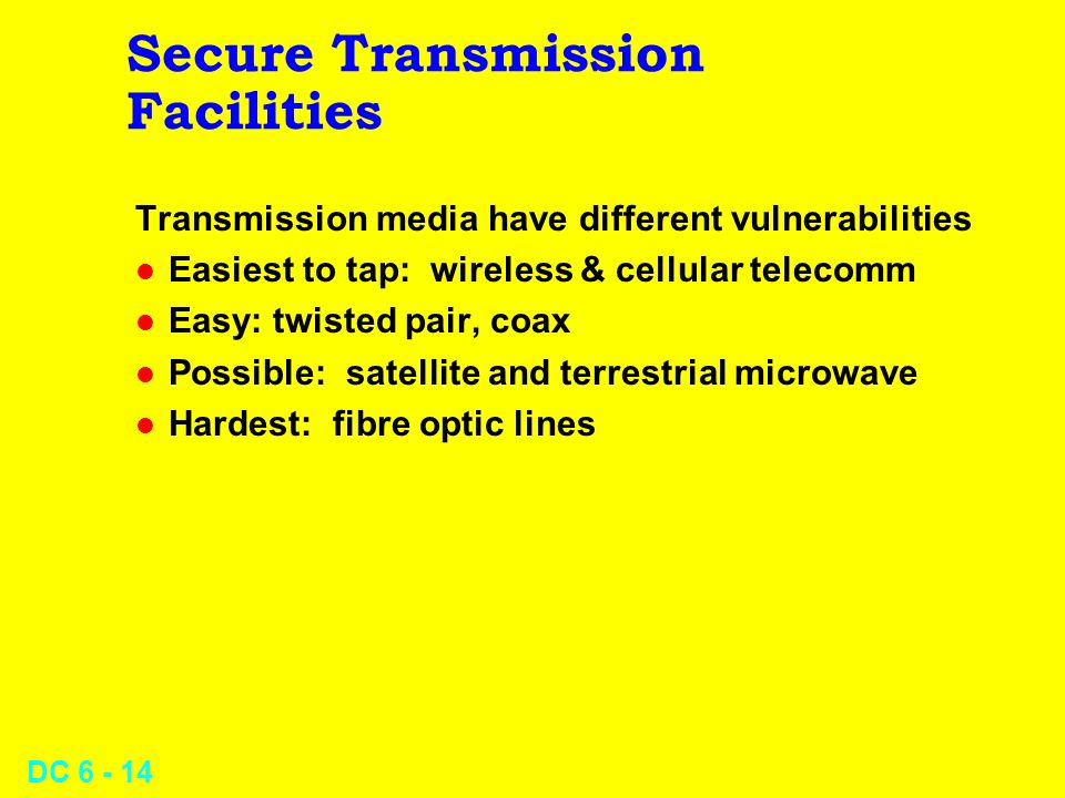 DC 6 - 13 Datacomm Security l Secure Transmission Facilities l Passwords l Historical and Statistical Logging l Closed User Groups l Firewalls l Encry