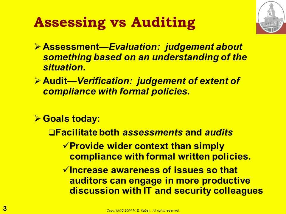 2 Copyright © 2004 M. E. Kabay. All rights reserved. Topics Assessing vs Auditing Fundamentals of Information Assurance Functions of IA Selected Topic