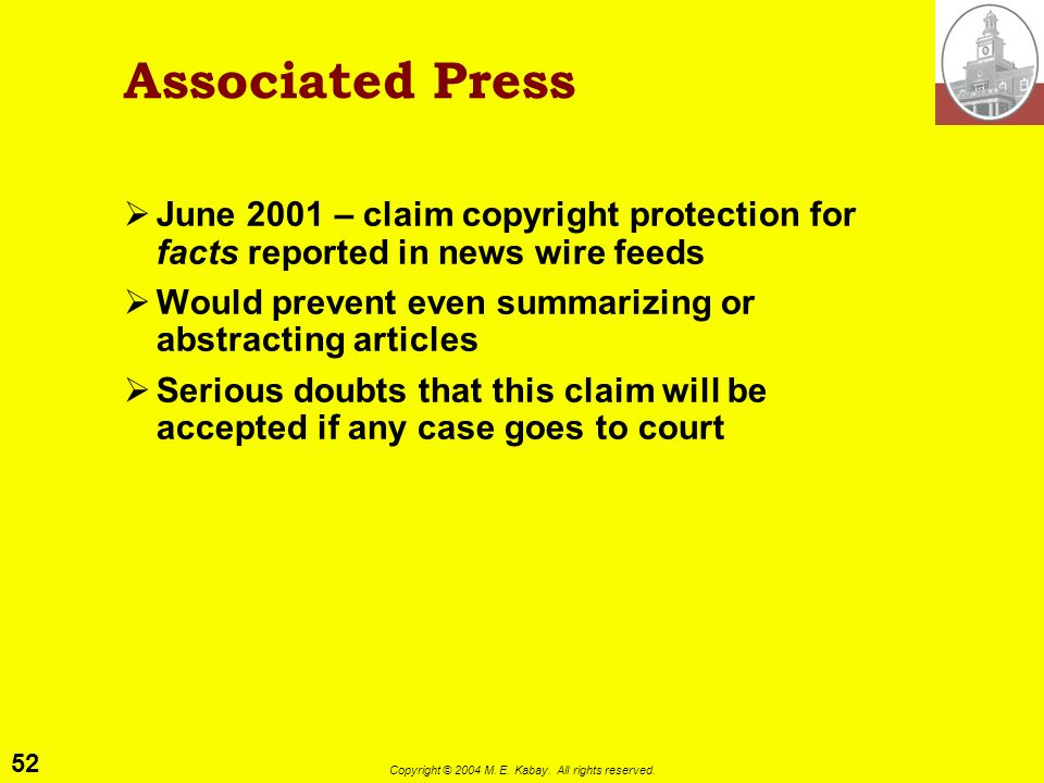 51 Copyright © 2004 M. E. Kabay. All rights reserved. NBA vs Pagers 1997.02 EDUPAGE Sports pagers receive scores in real time NBA does not want pagers