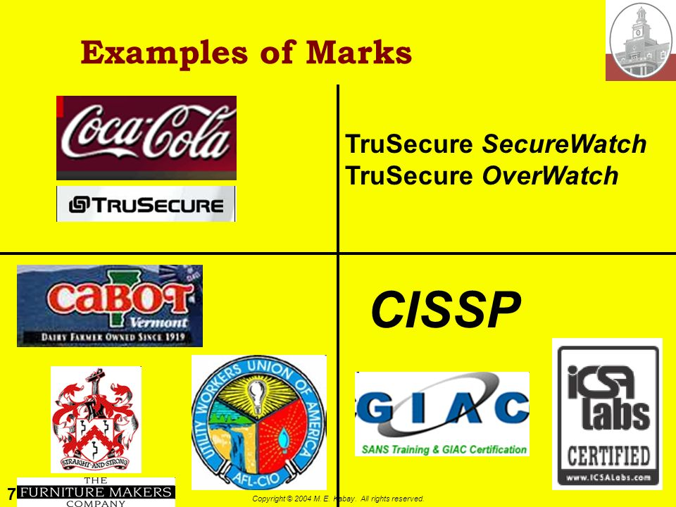 77 Copyright © 2004 M. E. Kabay. All rights reserved. Definition and Types of Marks Trademark Word, name, symbol, device or combination Used to distin