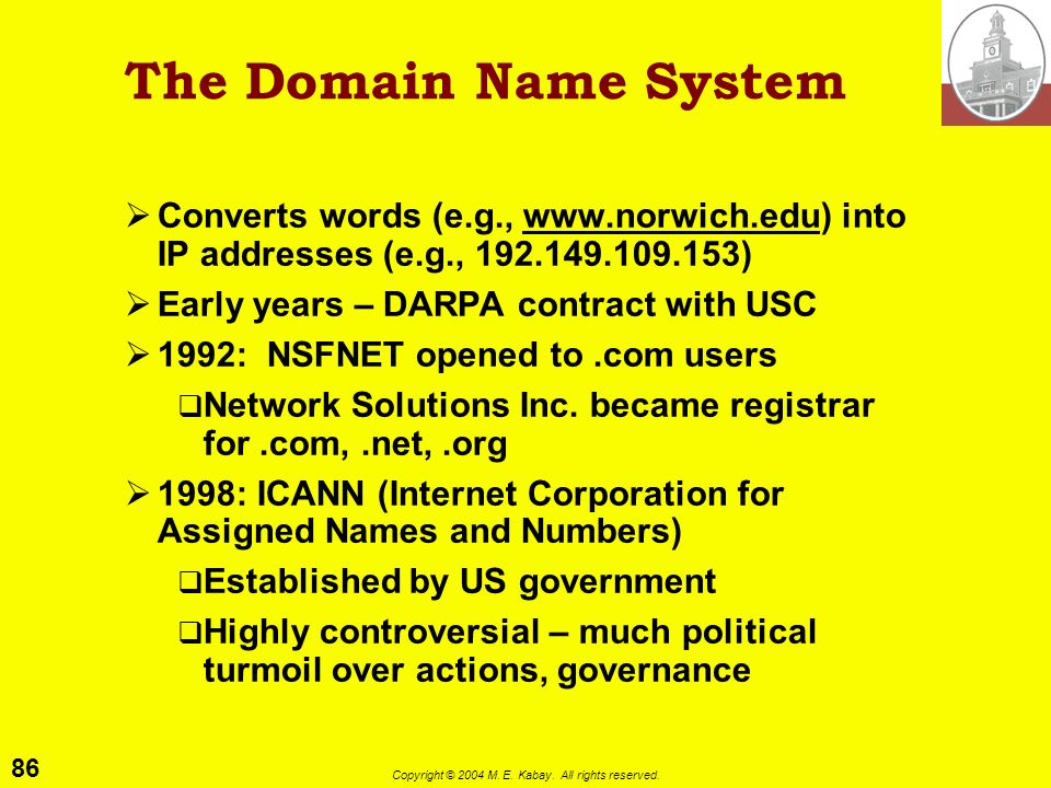 85 Copyright © 2004 M. E. Kabay. All rights reserved. Domain Names The Domain Name System (DNS) Dispute resolution Hyperlinks Cybersquatting Cases
