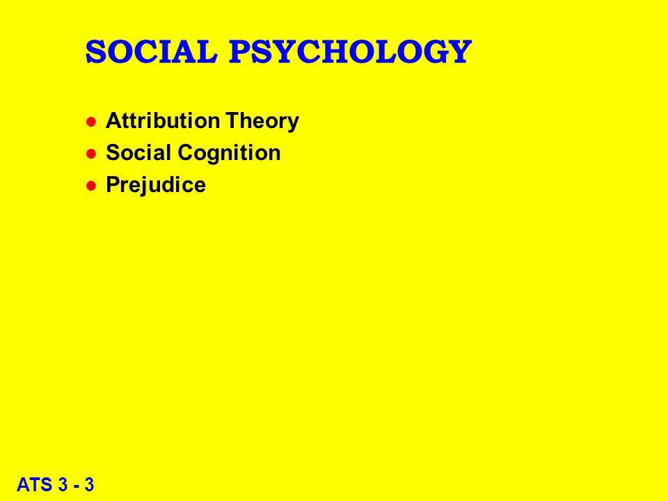 ATS 3 - 3 SOCIAL PSYCHOLOGY l Attribution Theory l Social Cognition l Prejudice