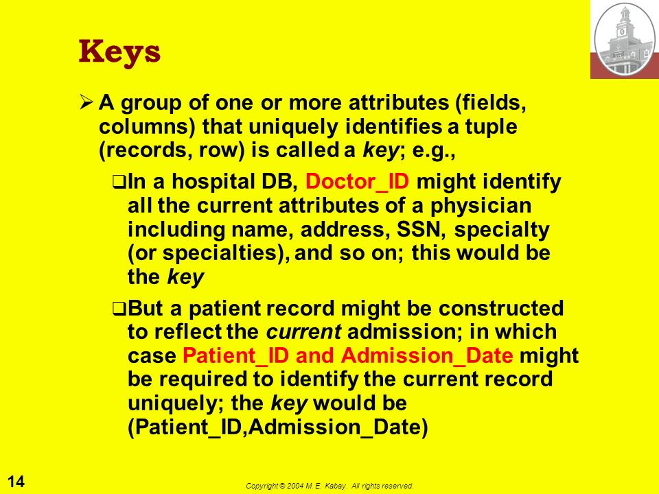 14 Copyright © 2004 M. E. Kabay. All rights reserved. Keys A group of one or more attributes (fields, columns) that uniquely identifies a tuple (recor