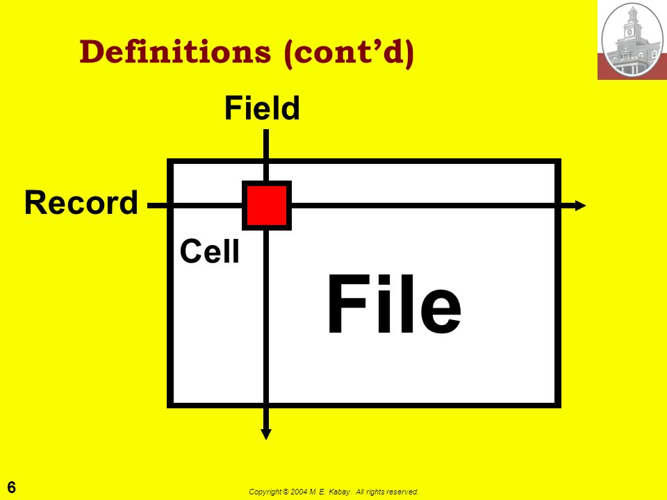 6 Copyright © 2004 M. E. Kabay. All rights reserved. Definitions (contd) Record Field File Cell