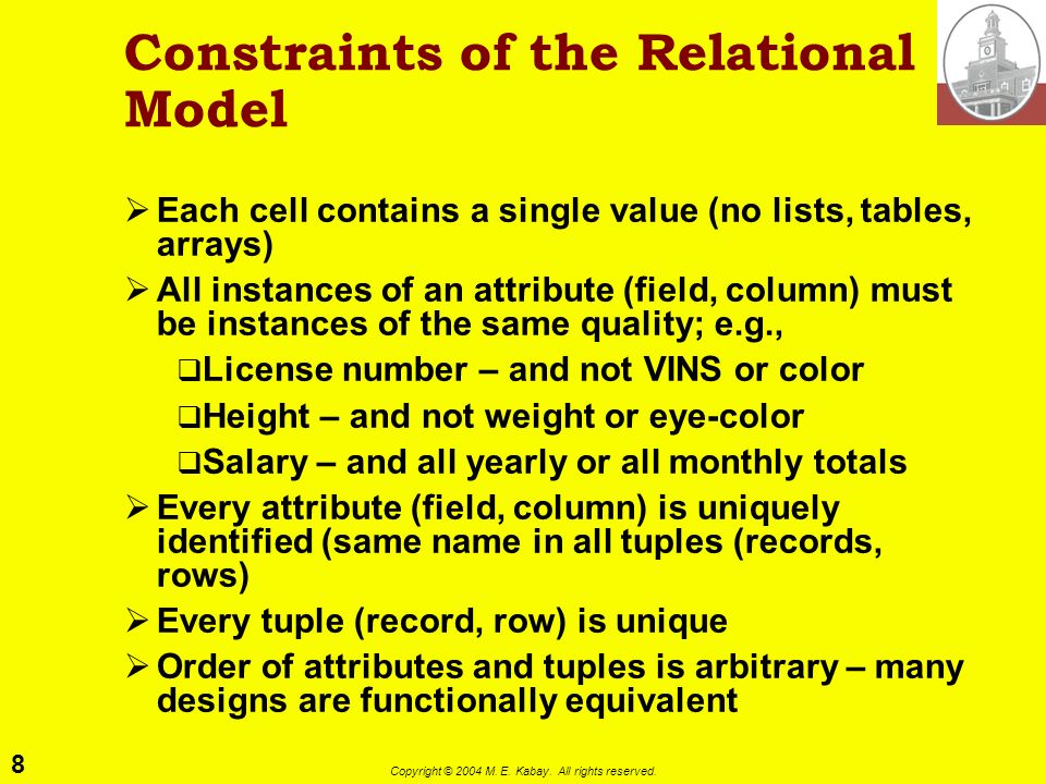 8 Copyright © 2004 M. E. Kabay. All rights reserved. Constraints of the Relational Model Each cell contains a single value (no lists, tables, arrays)