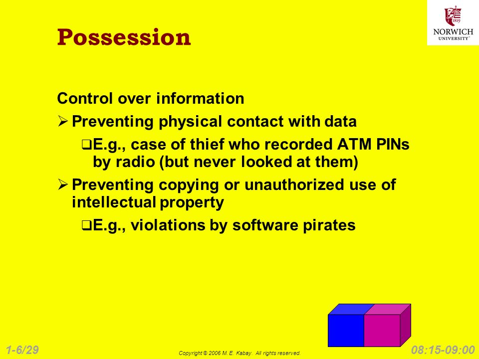 1-6/29 Copyright © 2006 M. E. Kabay. All rights reserved. 08:15-09:00 Possession Control over information Preventing physical contact with data E.g.,
