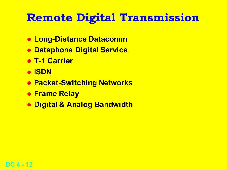 DC 4 - 12 Remote Digital Transmission l Long-Distance Datacomm l Dataphone Digital Service l T-1 Carrier l ISDN l Packet-Switching Networks l Frame Re