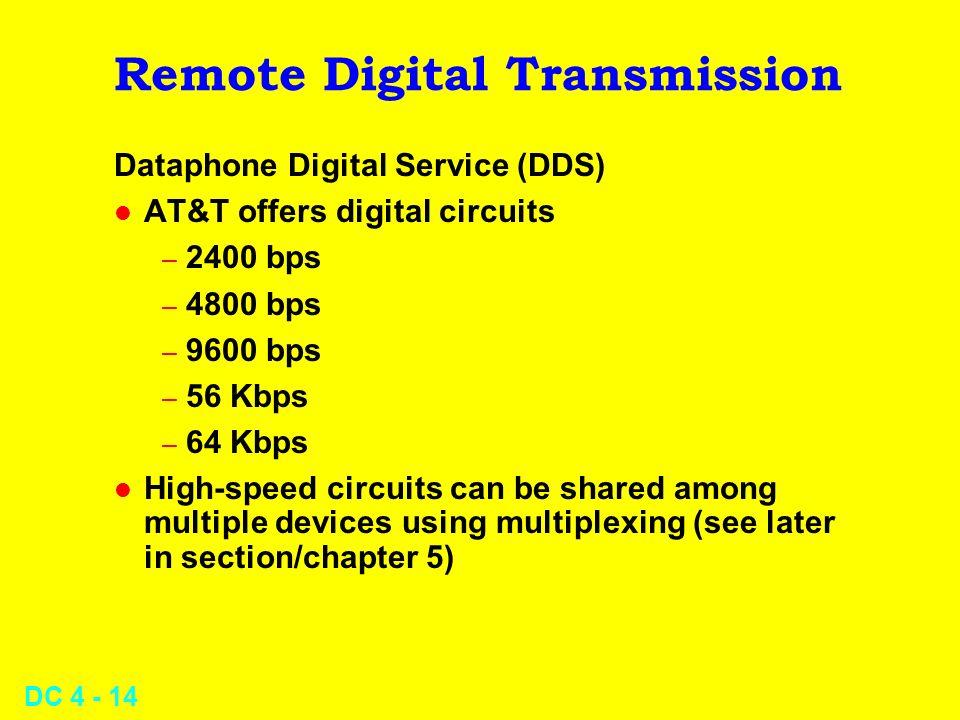 DC 4 - 14 Remote Digital Transmission Dataphone Digital Service (DDS) l AT&T offers digital circuits – 2400 bps – 4800 bps – 9600 bps – 56 Kbps – 64 K