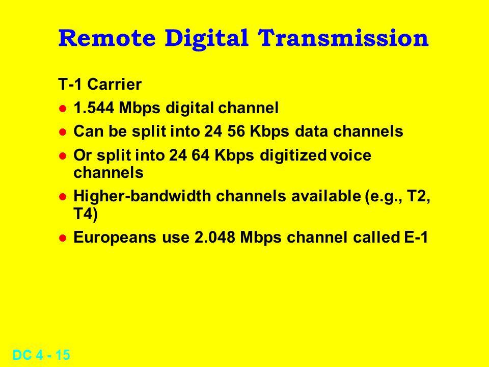 DC 4 - 15 Remote Digital Transmission T-1 Carrier l 1.544 Mbps digital channel l Can be split into 24 56 Kbps data channels l Or split into 24 64 Kbps