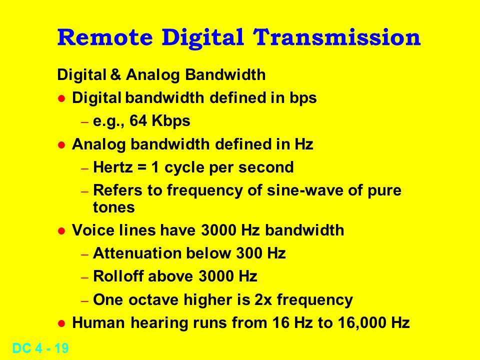 DC 4 - 19 Remote Digital Transmission Digital & Analog Bandwidth l Digital bandwidth defined in bps – e.g., 64 Kbps l Analog bandwidth defined in Hz –