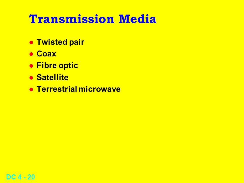 DC 4 - 20 Transmission Media l Twisted pair l Coax l Fibre optic l Satellite l Terrestrial microwave