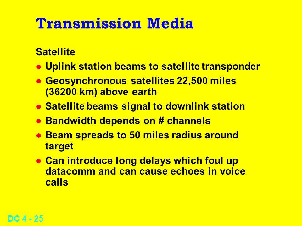 DC 4 - 25 Transmission Media Satellite l Uplink station beams to satellite transponder l Geosynchronous satellites 22,500 miles (36200 km) above earth