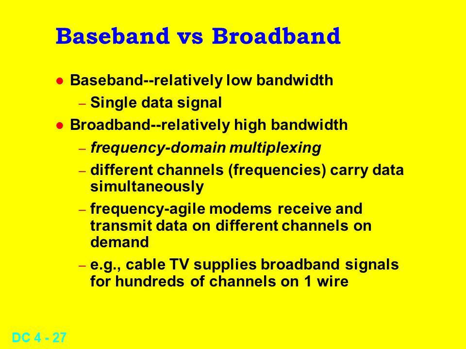 DC 4 - 27 Baseband vs Broadband l Baseband--relatively low bandwidth – Single data signal l Broadband--relatively high bandwidth – frequency-domain mu