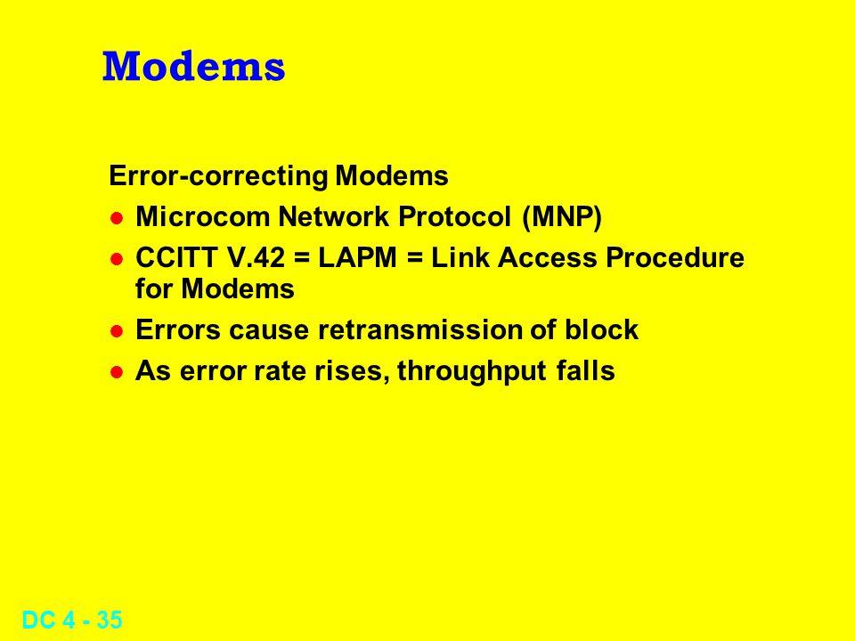DC 4 - 35 Modems Error-correcting Modems l Microcom Network Protocol (MNP) l CCITT V.42 = LAPM = Link Access Procedure for Modems l Errors cause retra