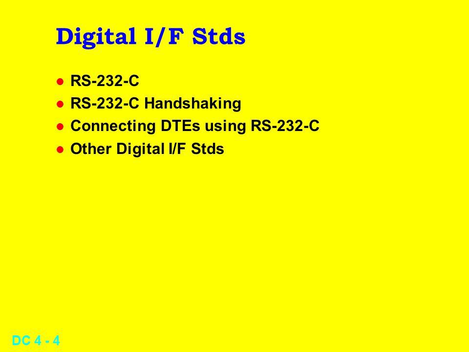 DC 4 - 4 Digital I/F Stds l RS-232-C l RS-232-C Handshaking l Connecting DTEs using RS-232-C l Other Digital I/F Stds