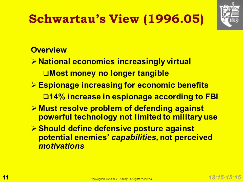 11 Copyright © 2005 M. E. Kabay. All rights reserved. 13:15-15:15 Schwartaus View (1996.05) Overview National economies increasingly virtual Most mone