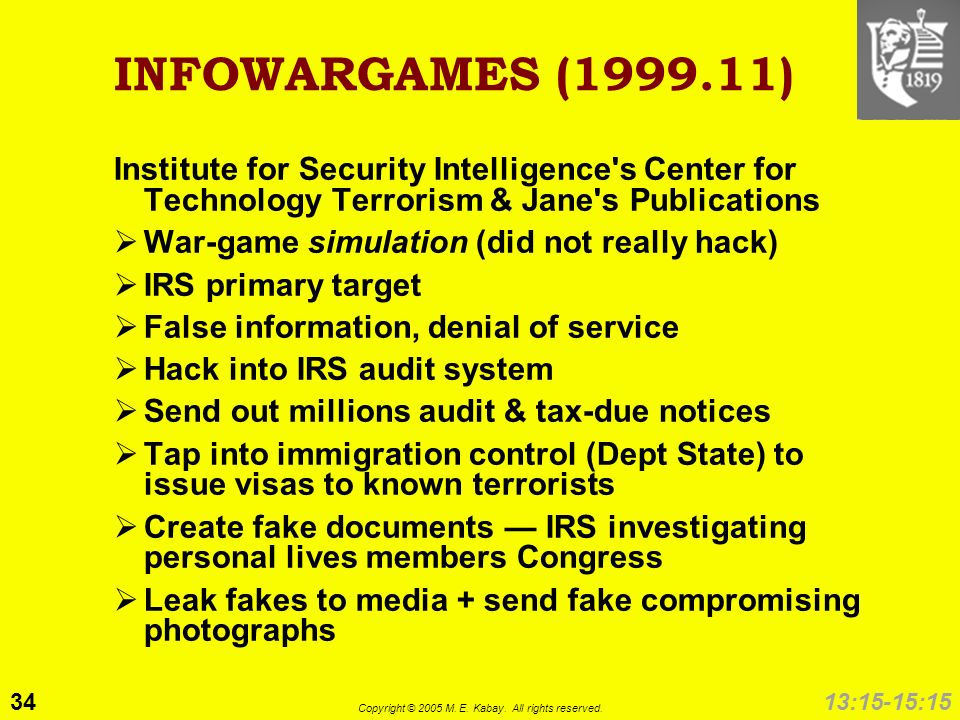 34 Copyright © 2005 M. E. Kabay. All rights reserved. 13:15-15:15 INFOWARGAMES (1999.11) Institute for Security Intelligence's Center for Technology T