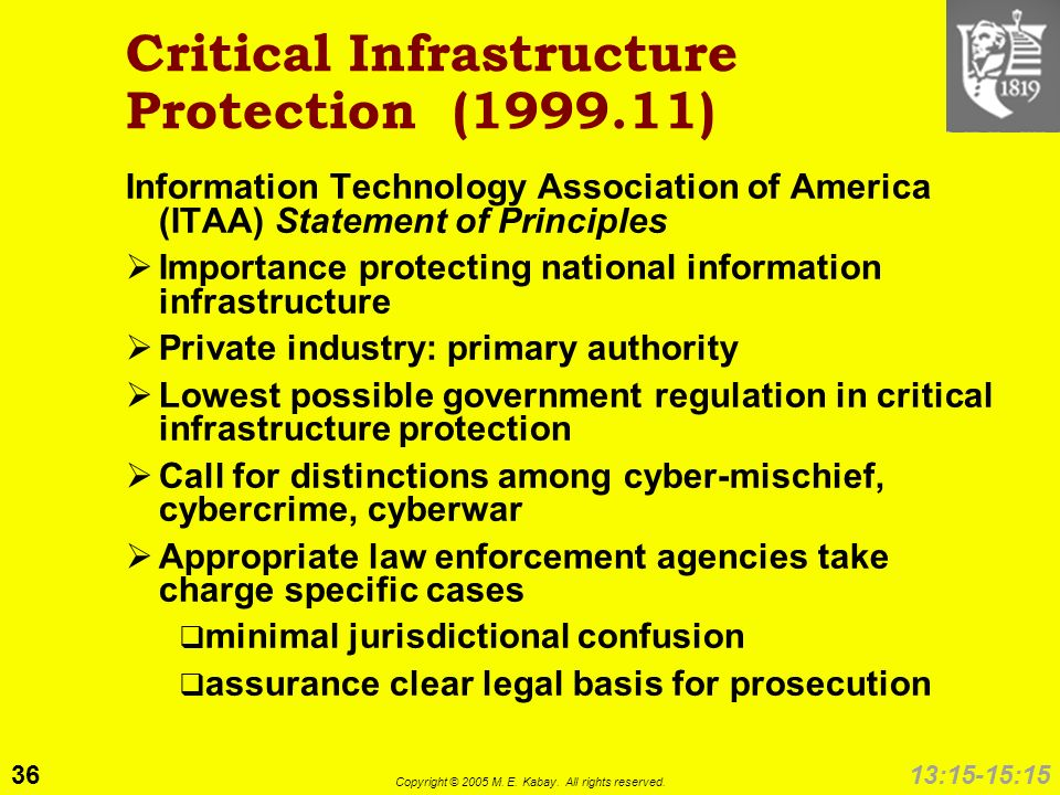 36 Copyright © 2005 M. E. Kabay. All rights reserved. 13:15-15:15 Critical Infrastructure Protection (1999.11) Information Technology Association of A