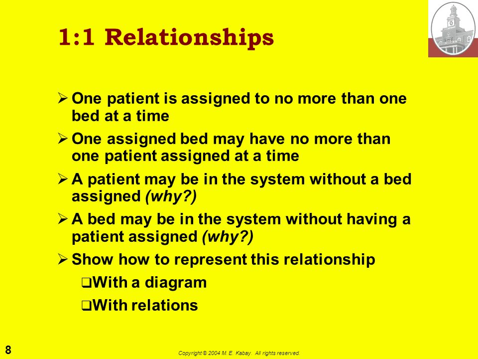 8 Copyright © 2004 M. E. Kabay. All rights reserved. 1:1 Relationships One patient is assigned to no more than one bed at a time One assigned bed may