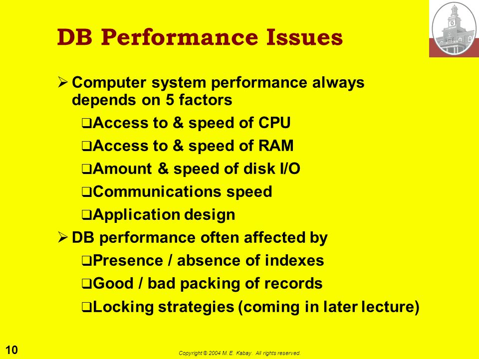 10 Copyright © 2004 M. E. Kabay. All rights reserved. DB Performance Issues Computer system performance always depends on 5 factors Access to & speed