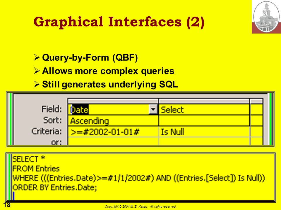 18 Copyright © 2004 M. E. Kabay. All rights reserved. Graphical Interfaces (2) Query-by-Form (QBF) Allows more complex queries Still generates underly