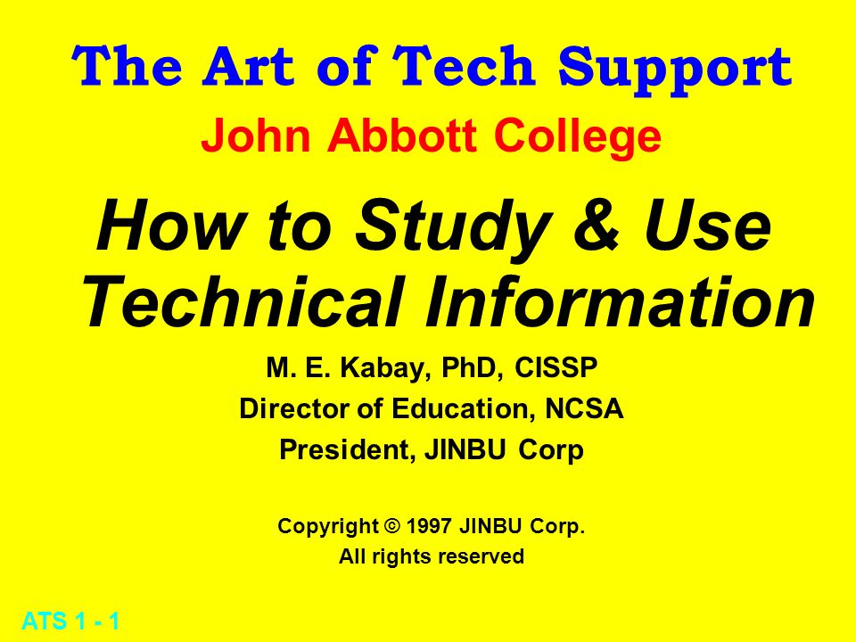 ATS 1 - 2 How to Study and Use Technical Information l SQ3R -- Method for effective studying l Types and use of information media