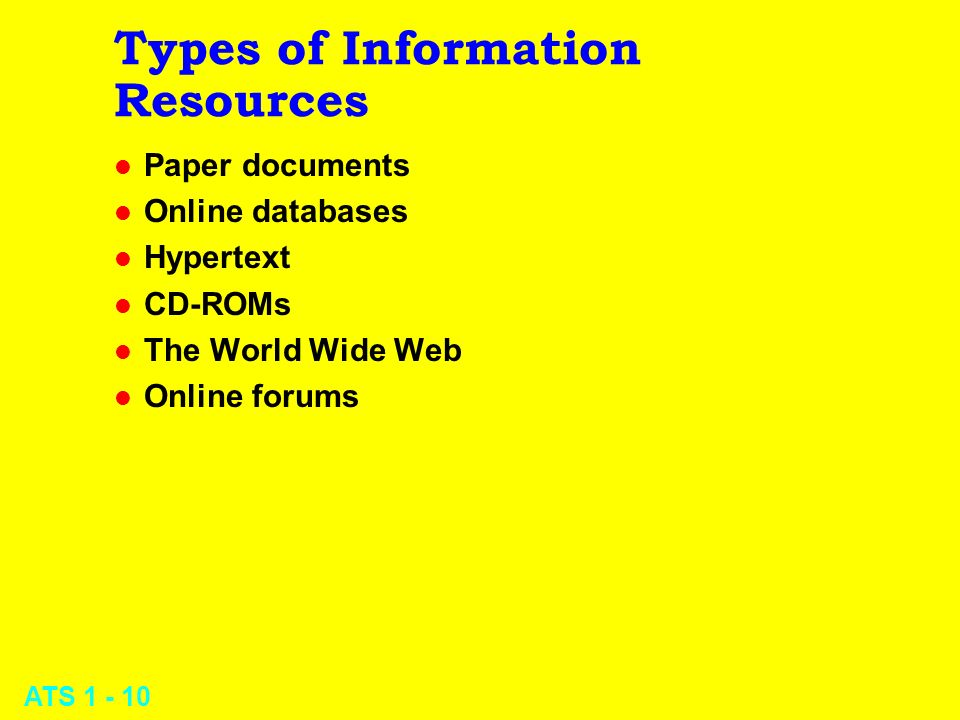 ATS 1 - 10 Types of Information Resources l Paper documents l Online databases l Hypertext l CD-ROMs l The World Wide Web l Online forums
