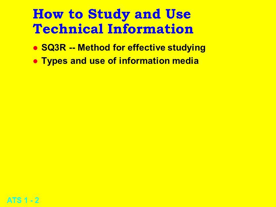 ATS 1 - 3 The SQ3R Method l Background explaining origins of SQ3R l Survey = S l Question= Q l Read= R 1 l Recite= R 2 l Review= R 3