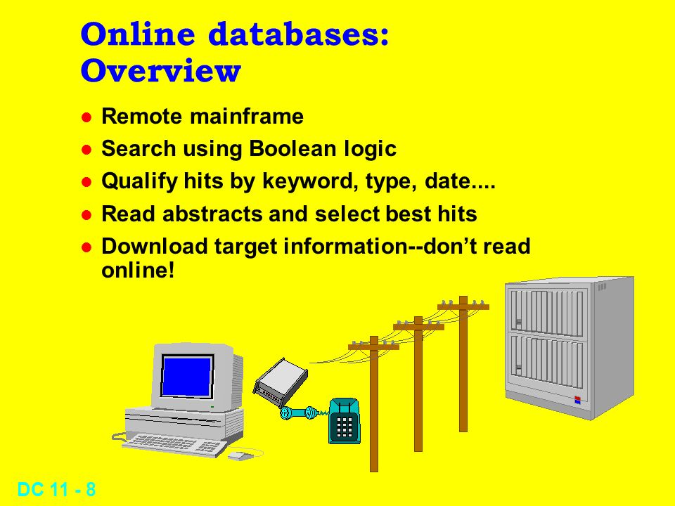 DC 11 - 7 Online databases l Overview l Features and costs l News clippings services
