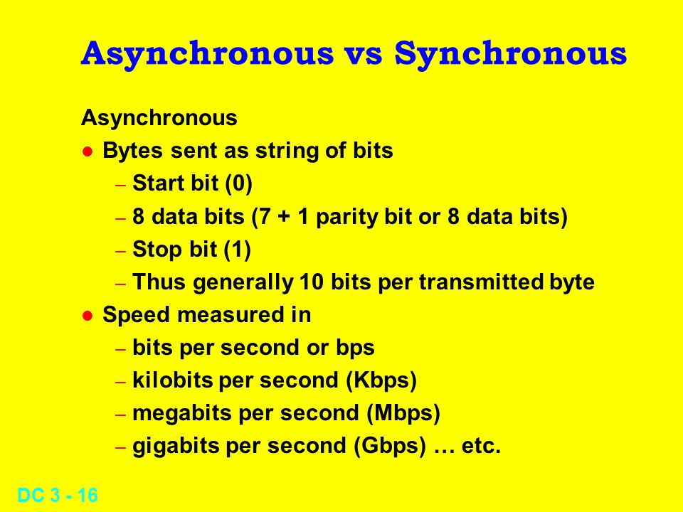 DC 3 - 16 Asynchronous vs Synchronous Asynchronous l Bytes sent as string of bits – Start bit (0) – 8 data bits (7 + 1 parity bit or 8 data bits) – Stop bit (1) – Thus generally 10 bits per transmitted byte l Speed measured in – bits per second or bps – kilobits per second (Kbps) – megabits per second (Mbps) – gigabits per second (Gbps) … etc.