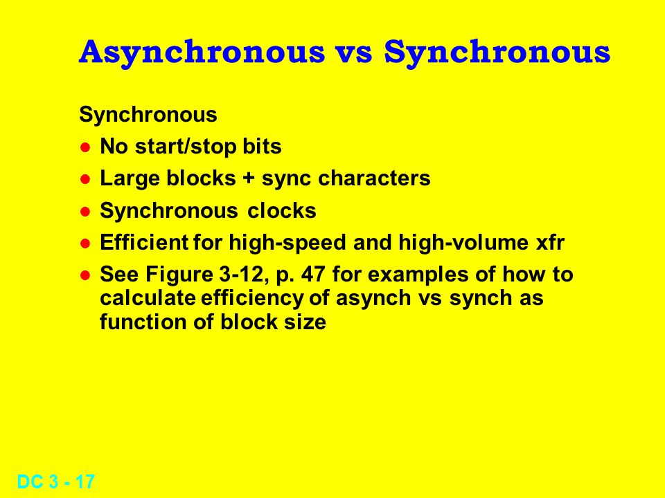 DC Asynchronous vs Synchronous Synchronous l No start/stop bits l Large blocks + sync characters l Synchronous clocks l Efficient for high-speed and high-volume xfr l See Figure 3-12, p.