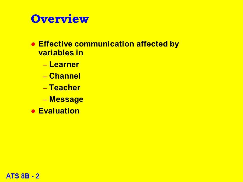 ATS 8B - 3 Effective Communication: Learner variables l Knowledge base l Objectives l Intelligence l Alertness l Motivation