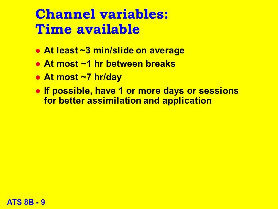 ATS 8B - 20 Effective Communication: Message variables l Context l Behavioural objectives l Organization l Content l Review questions