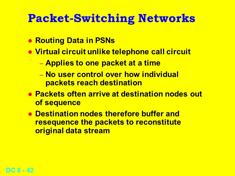 DC Packet-Switching Networks l Routing Data in PSNs l Virtual circuit unlike telephone call circuit – Applies to one packet at a time – No user control over how individual packets reach destination l Packets often arrive at destination nodes out of sequence l Destination nodes therefore buffer and resequence the packets to reconstitute original data stream